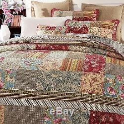 Tache Tea Party Vintage Cotton Reversible Patchwork Bedding Quilt Bedspread Set
