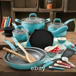 The Pioneer Woman Vintage Speckle Turquoise 24 Piece Cookware Combo Set Pots NEW