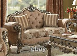 Traditional Vintage Oak Living Room Furniture Set Brown Fabric Sofa Loveseat RA6