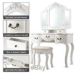 Tri Folding Vintage White Vanity Makeup Dressing Table Set 5 Drawers Christmas