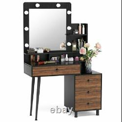 Tribesigns Vanity Set With Lighted Mirror& Drawers VIntage Dressing Makeup Table