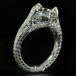 VINTAGE DIAMOND SEMI-MOUNT ENGAGEMENT RING 8mm ROUND SETTING FILIGREE ANTIQUE