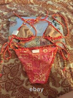 VINTAGE MYSTIC BAYJuniors mix ORANGE /YELLOW 2 pc set string bikini. NEW WithO TAGS