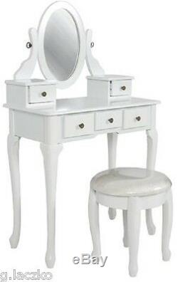 Vanity Dressing Table Set Mirror Antique Vintage Wood Drawer Bench Makeup Stool