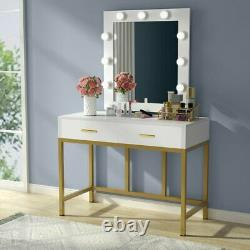 Vanity Makeup Table With Lighted Mirror & 2 Drawers Bedroon Dressing Table Set