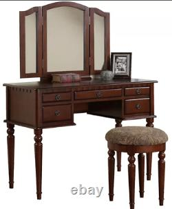 Vanity Set with Mirror table Antique Vintage Makeup Desk Dresser Drawer Stool