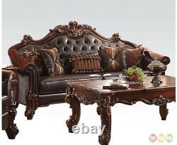 Vendome Victorian 2pc Leather & Velvet Living Room Sofa Set in Brown Cherry
