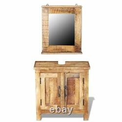 VidaXL Solid Mango Wood Cabinet Set with 2 Doors Bathroom Mirror Storage Home