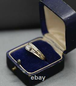 Vintage 1.20ctw Diamond Engagement Ring & Wedding Band Set 14k Yellow Gold Over