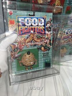 Vintage 1989 Mattel Food Fighters Complete Figure Set Of 10 All In Acrylic Cases