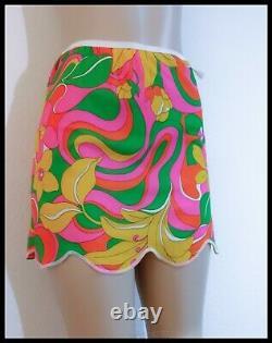 Vintage 60s GO-GO Psychedelic PRINT Mini Skirt Slip Panty SET Flower Power NWT