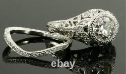 Vintage Antique Style 2 CT Signity Diamond Wedding 2pcs Bridal Ring Set All Size
