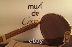 Vintage Cartier Bagatelle Gold & Wood 55/18 Full Set Brown Lens 18k Sunglasses