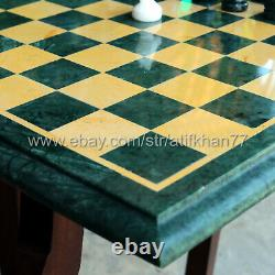 Vintage Chess Set Green Marble Chess Board Table Games Set Gift Collectibles