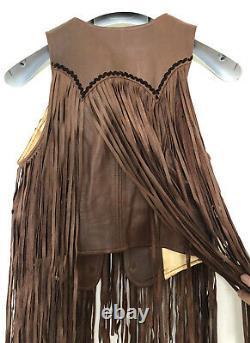 Vintage Deadstock 60s 70s Leather Lace Up Pants And Fringe Vest Set Woodstock