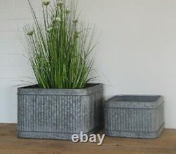 Vintage Galvanised Large Metal Ribbed Square Tub Planter Plant Flower Pot Garden