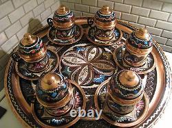 Vintage Handmade Copper Turkish Coffee&Espresso Serving SetOTTOMAN STYLE -6CUPS