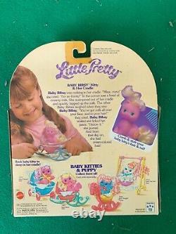 Vintage Mattel Little Pretty Cradle Set BABY BIBSY KITTY Purple Cat RARE MIB