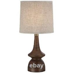 Vintage Mid Century Modern Pair Walnut Table Lamps Shaded Living Room Set of 2