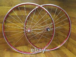 Vintage Original Mavic Helium Red Anodized Shimano 10spd Clincher 700c Wheel Set