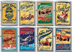 Zippo Old School 1950's Vintage Race Club Posters 8 Lighter Set Street Chrome